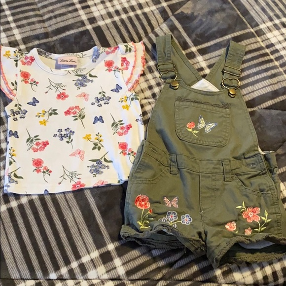 Girls overall shorts set